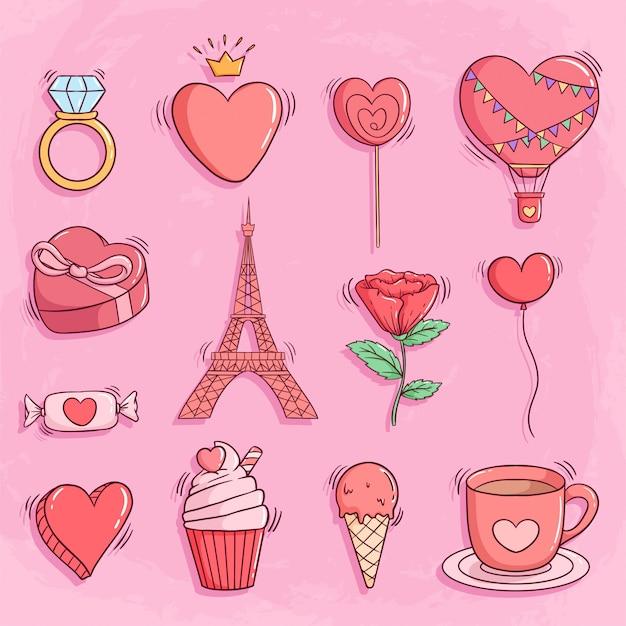 Insieme degli elementi o delle icone del biglietto di s. valentino con stile di scarabocchio sul rosa