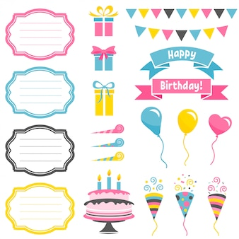 Insieme degli elementi variopinti della festa di compleanno isolati su bianco