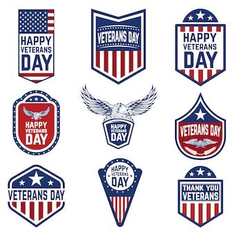 Insieme degli emblemi di giorno dei veterani. cultura usa. elementi per logo, etichetta, emblema, segno. illustrazione