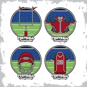 Insieme degli emblemi rotondi di sport di calcio