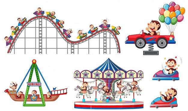 Insieme degli oggetti del circo su fondo bianco