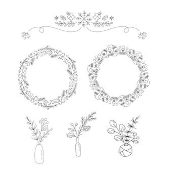 Insieme degli oggetti floreali di vettore natale monoline. mazzi di fiori, cornici di natale e divisori