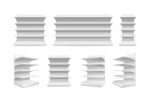 Insieme degli scaffali di negozio vuoti bianchi isolato. scaffalature per la vendita al dettaglio. modello di vetrina.