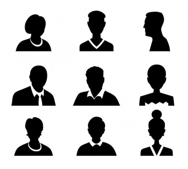 Insieme degli uomini e delle donne di vettore con l'immagine di profilo dell'avatar di affari. sagoma di avatar.
