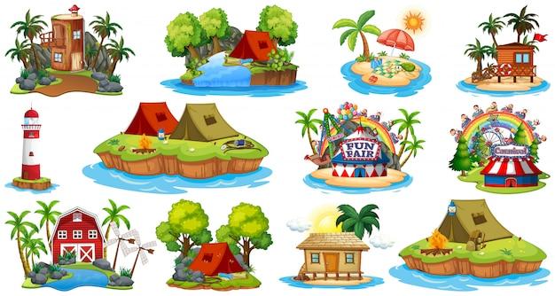 Insieme dei bangalows differenti e tema e parco di divertimenti della spiaggia dell'isola isolati su fondo bianco