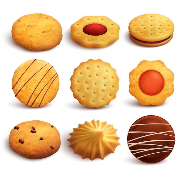 Insieme dei biscotti di varietà cotti da farina di frumento isolata su bianco nello stile realistico
