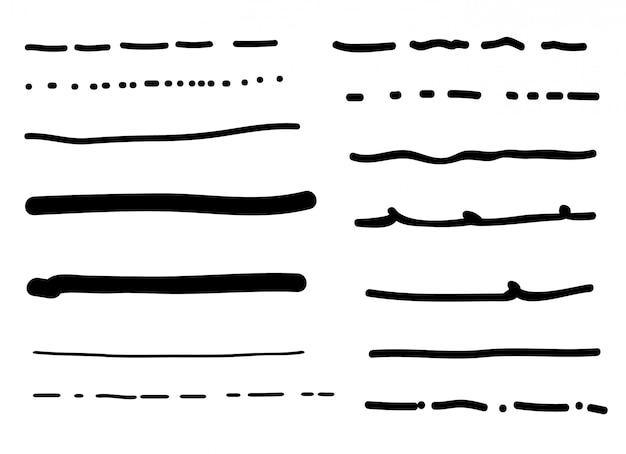 Insieme dei bordi di linea doodle disegnato a mano