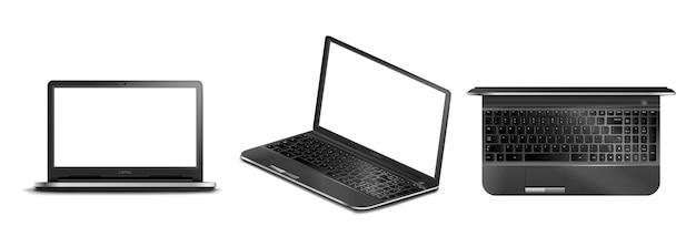 Insieme dei computer portatili realistici moderni neri su un fondo isolato, computer portatile nell'isometria con uno schermo vuoto per la vostra progettazione, illustrazione