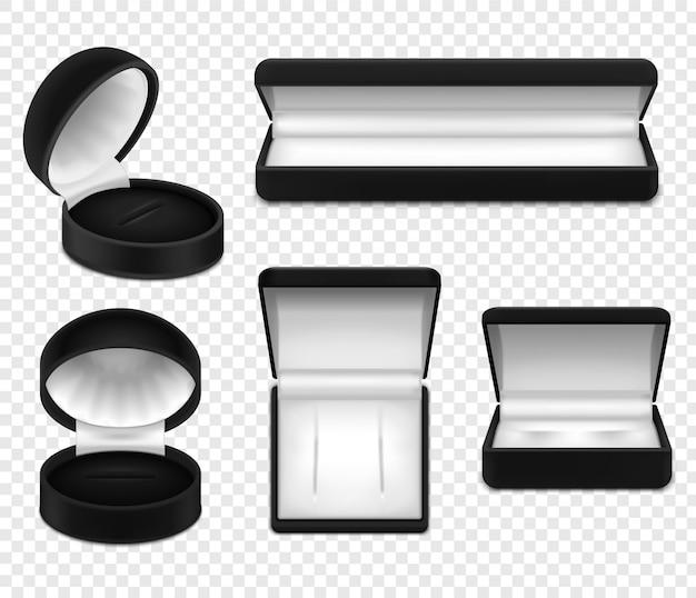 Insieme dei contenitori di gioielli neri vuoti aperti realistici su trasparente isolato