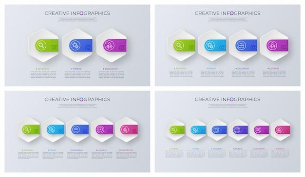 Insieme dei disegni infographic di vettore minimalista contemporaneo.