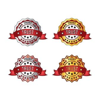 Insieme dei distintivi di fiducia con gli emblemi rossi di garanzia dei nastri isolati