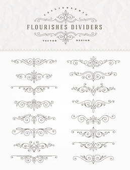 Insieme dei divisori eleganti calligrafici dell'ornamento di flourishes - illustrazione