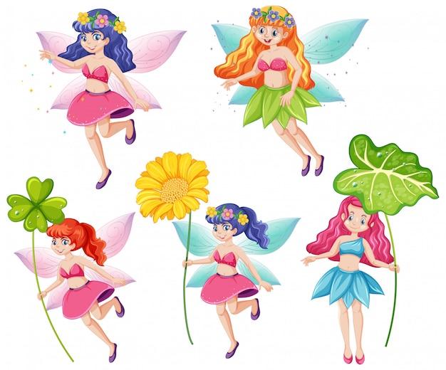 Insieme dei fatati svegli che tengono un personaggio dei cartoni animati del fiore su fondo bianco