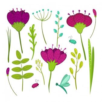 Insieme dei fiori, degli insetti, delle foglie e dell'erba disegnati a mano di scarabocchio isolati