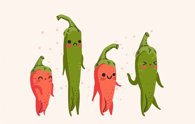 Insieme dei peperoncini rossi rossi svegli e dell'illustrazione verde dei peperoncini rossi.