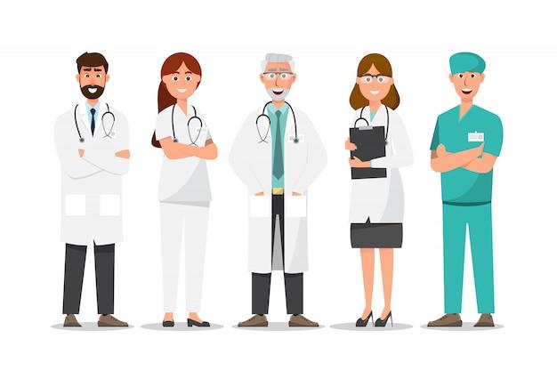 Insieme dei personaggi dei cartoni animati di medico, concetto del gruppo del personale medico in ospedale