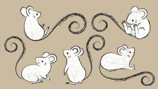Insieme dei ratti disegnati a mano, topi in diverse pose, illustrazione di vettore del tratto di pennello inchiostro, stile doodley del fumetto.