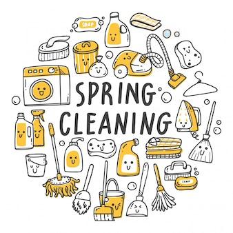 Insieme dei rifornimenti di pulizia nell'illustrazione di stile di scarabocchio di kawaii