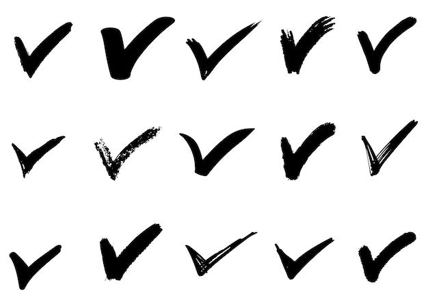 Insieme dei segni disegnati a mano dell'assegno (v) isolati. insieme dell'icona dei segni della lista di controllo. segni di spunta di schizzo.