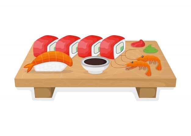 Insieme dei sushi sul bordo di legno della cucina, sul rotolo di tonno e sul concetto dei ciprinidi di color salmone isolati su bianco, illustrazione del fumetto.