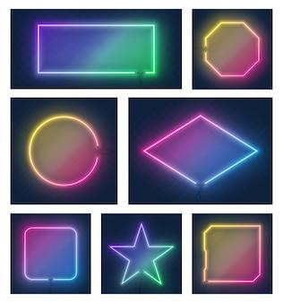 Insieme dei telai al neon di forme differenti d'ardore variopinti realistici isolati su fondo trasparente. effetto neon brillante e brillante. ogni telaio è un'unità separata con fili. illustrazione.