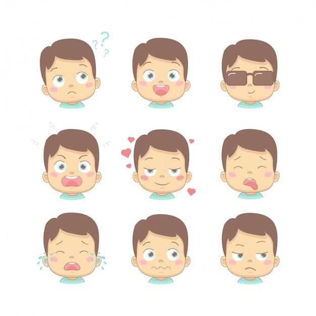 Insieme del bambino sveglio del fumetto con differenti emozioni divertenti nel personaggio dei cartoni animati di design piatto. bambini carini con il pensiero, la gioia, gli affari, la rabbia, l'amore, la faccia malata, piangente e disgustata.