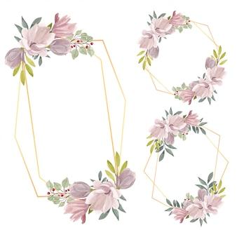 Insieme del bordo della struttura del fiore della magnolia dell'acquerello
