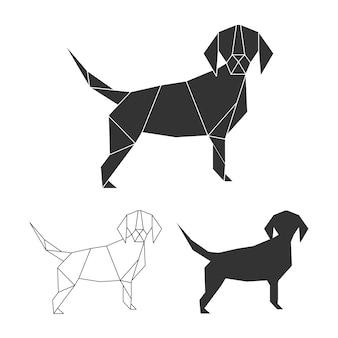 Insieme del cane di origami di vettore linea, silhouette e design poligonale logo cane