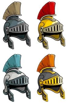 Insieme del casco del soldato romano antico del fumetto