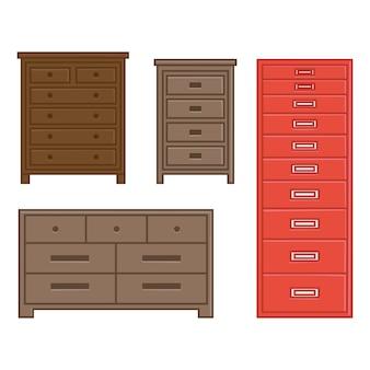 Insieme del cassetto e del gabinetto dell'illustrazione di vettore per stile piano di progettazione della famiglia interna