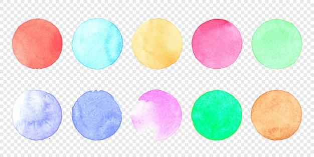 Insieme del cerchio dell'acquerello pastello di vettore. striscio di colore della macchia di schizzi ad acquerello su trasparente