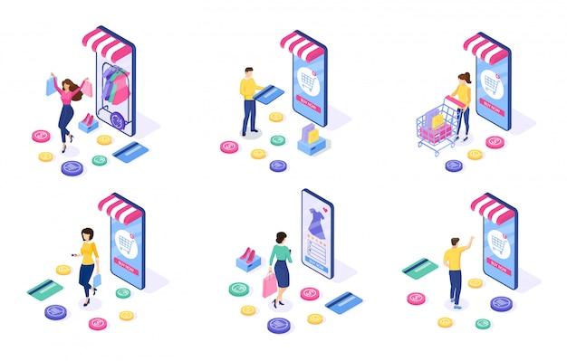 Insieme del concetto di shopping online. la donna e l'uomo acquistano cose sul sito.