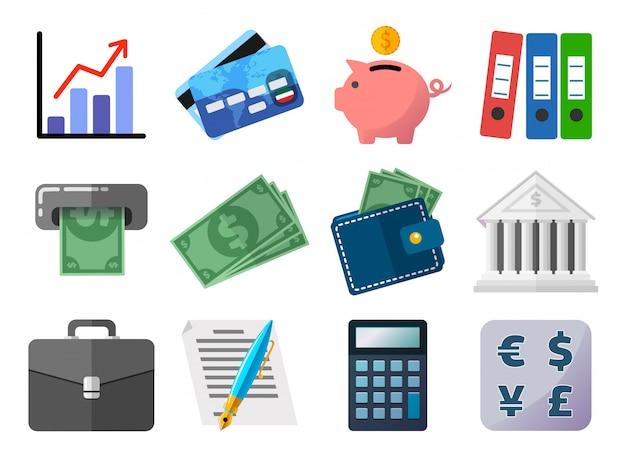 Insieme del concetto piano delle icone, di affari, di finanze, dei soldi e di pagamento