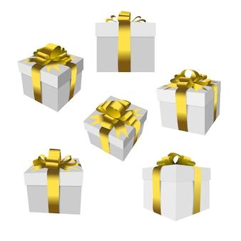 Insieme del contenitore di regalo con l'arco e il nastro dell'oro isolati.