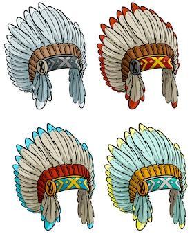 Insieme del copricapo del capo indiano del nativo americano del fumetto