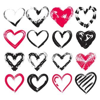 Insieme del cuore di disegno disegnato a mano