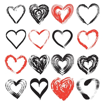 Insieme del cuore di stile disegnato a mano