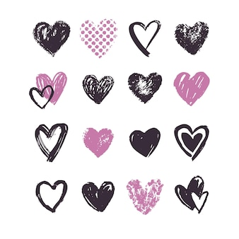 Insieme del cuore disegnato a mano