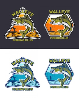Insieme del distintivo del club di pesca del walleye