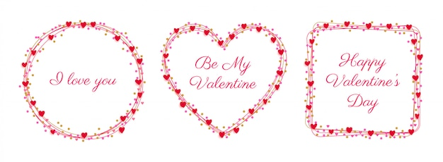Insieme del distintivo di cuori cornice san valentino