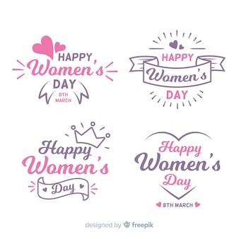 Insieme del distintivo di giorno delle donne disegnate a mano