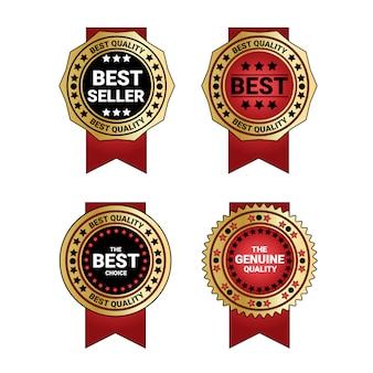 Insieme del distintivo dorato del migliore venditore e delle medaglie di qualità con la decorazione rossa del nastro isolata