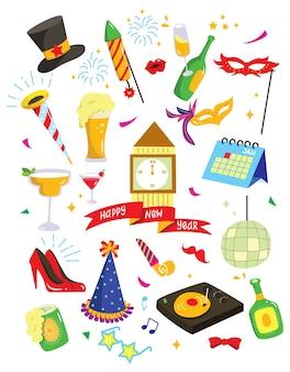 Insieme del doodle del nuovo anno isolato su fondo bianco