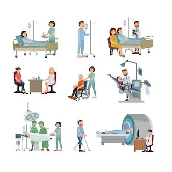 Insieme del dottore e del paziente sull'illustrazione dell'ospedale