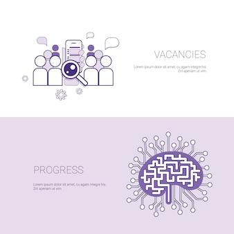 Insieme del fondo del modello di concetto di affari delle insegne di progresso e di posti di lavoro con lo spazio della copia