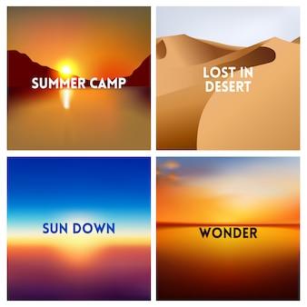 Insieme del fondo vago tramonto astratto di vettore. quadrato sfondo sfocato - colori nuvole di cielo con le citazioni di amore.