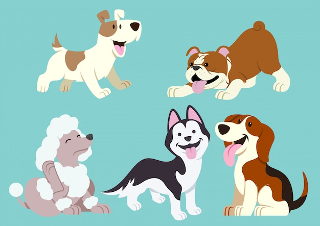 Insieme del fumetto del cane