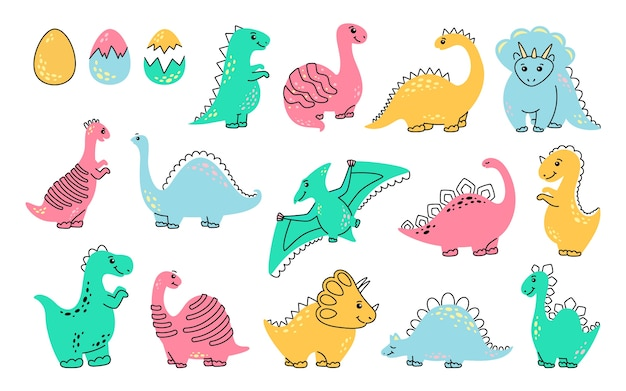 Insieme del fumetto del dinosauro. divertenti dinosauri colorati, illustrazione isolati su sfondo bianco