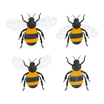 Insieme del fumetto del fumetto di vettore degli insetti dell'ape del bombo isolato