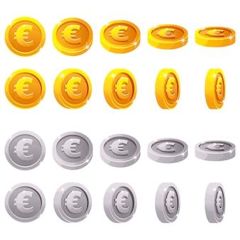 Insieme del fumetto delle monete metalliche 3d, rotazione del gioco di animazione di vettore